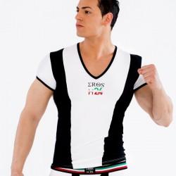 Tshirt Blanc et Noir Col V
